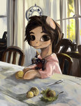 chair clothes girl_with_peaches highres knife nancy-05 parody peaches ponified table valentin_serov