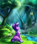 absurdres butterfly flowers forest highres light-of-inirida starlight_glimmer stream trees water