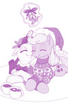 applejack bow dstears highres holly magic mistletoe mug rarijack rarity shipping sweater