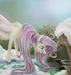 catscratchpaper fluttershy highres skunk snow spring winter_wrap_up