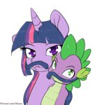 alasou highres mustache spike twilight_sparkle