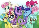 lemon_hearts lyra_heartstrings minuette moondancer pinkie_pie spike twilight_sparkle twinkleshine yeapazo