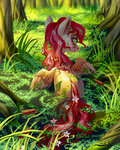 flowers highres holivi original_character pond trees water