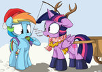 antlers christmas mistletoe mistydash princess_twilight rainbow_dash twilight_sparkle winter
