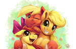 apple_bloom applejack big_macintosh highres tsitra360