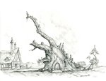 baroncoon golden_oak_library house library ponyville ruins scenery traditional_art tree