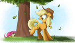 applejack highres ncmares paint pear pinkie_pie prank rainbow_dash tree