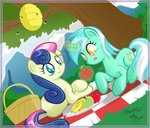 absurdres apples banana beehive bees border danmakuman lyra_heartstrings magic picnic sweetie_drops