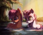 annielith pond scootaloo sweetie_belle swimming water