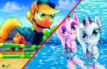 applejack halem1991 highres jumping olympics rarity starlight_glimmer swimming synchronized_swimming