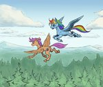adeptus-monitus flying rainbow_dash scootaloo