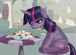 flowers rain sandwich starbat table twilight_sparkle wet_hair