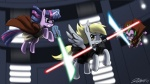 derpy_hooves johnjoseco lightsaber parody spike star_wars twilight_sparkle wallpaper weapon