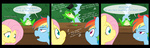 cartoonlion comic crossover fluttershy frog hat highres merrie_melodies michigan_j_frog rainbow_dash singing tophat
