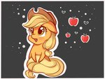 applejack apples border chibi flutterkiller heart