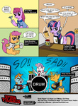 band berry_punch coffee comic crash_and_the_boys crossover drums drunk guitar i_shall_not_use_my_hooves_as_hands scootaloo scott_pilgrim singing snailsquirm snipsy_snap stacey_pilgrim suit sweetie_belle tie twilight_sparkle vjmorales wallace_wells young_neil