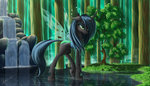 highres pond queen_chrysalis rock tree waterfall zig-word