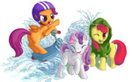 apple_bloom coat cutie_mark_crusaders helmet nameless-fairy scootaloo scooter sweetie_belle