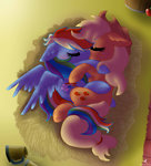 appledash applejack highres kikirdcz rainbow_dash shipping sleeping