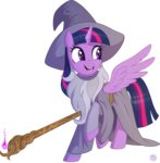 beard clothes costume crossover gandalf hat lord_of_the_rings princess_twilight staff stasysolitude twilight_sparkle