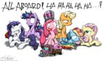 applejack flowers fluttershy flutterthrash hat highres insanity main_six ozzy_osbourne pinkie_pie rainbow_dash rarity train twilight_sparkle