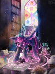 absurdres book highres library magic pentagram princess_twilight spacecolonie spike twilight_sparkle