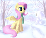 angel fluttershy hieronymuswhite highres scarf snow snowball snowing winter