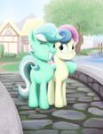 bridge highres lyra_heartstrings lyrabon ponyville shipping sslug sweetie_drops tree wink