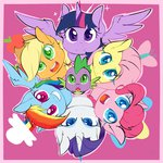 applejack border chibimlp-lover fluttershy main_six pinkie_pie princess_twilight rainbow_dash rarity spike twilight_sparkle