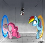 crossover johnjoseco pinkie_pie portal rainbow_dash