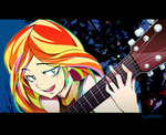 equestria_girls guitar highres humanized sunset_shimmer tyuubatu
