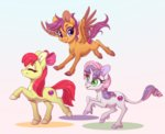 apple_bloom cutie_mark_crusaders peridotkitty scootaloo sweetie_belle