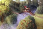 absurdres bridge fish highres levinfiery original_character stream trees water