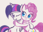 hugs pinkie_pie raikoh14 sketch twilight_sparkle wink