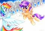 absurdres highres liaaqila rainbow_dash scootaloo snow snowball snowball_fight traditional_art trees winter