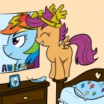 crown madmax poster rainbow_dash scootaffection scootaloo
