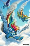 cloud dragonbeak flying rainbow_dash soarin spitfire uniform wonderbolts