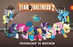 applejack big_macintosh cap crossover demoman derpy_hooves dog_tag engineer flamethrower fluttershy gummy hat headphones heavy helmet magic main_six medic parody pinkie_pie pyro rainbow_dash rarity sandwich scout smashinator sniper soldier spike spy team_fortress_2 twilight_sparkle weapon