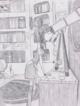 coffee coffee_cup golden_oak_library highres humanized pencil shmoo-raccoon telescope twilight_sparkle