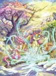 bird cat flowers fluttershy fox highres rabbit snow spring the-wizard-of-art traditional_art tree