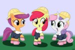 absurdres apple_bloom clothes cutie_mark_crusaders hat highres school_uniform scootaloo sweetie_belle taurson