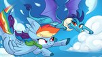 absurdres cloud flying highres princess_ember rainbow_dash shibaroll