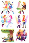 absurdres applejack dancing equestria_girls fluttershy guitar highres humanized juice magneticskye main_six pinkie_pie rainbow_dash rarity sunset_shimmer tree twilight_sparkle