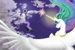 arickoworkshop cloud eclipse flying magic moon nightmare_moon princess_celestia sun