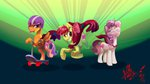 alumx apple_bloom cape cutie_mark_crusaders helmet highres scootaloo scooter sweetie_belle
