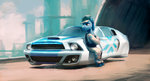bipedal car clothes hat highres hovercar hunternif original_character