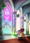 applejack canterlot flowers fluttershy highres main_six nightmare_moon pinkie_pie princess_twilight rainbow_dash rarity renokim spike stained_glass twilight_sparkle