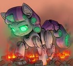 alloyrabbit big friendship_is_witchcraft on_fire ponyville robot sweetie_belle sweetie_bot