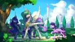 anticularpony canterlot highres princess_celestia princess_luna princess_twilight tree trees twilight_sparkle