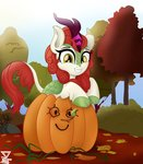 absurdres autumn_blaze highres kirin pumpkin theretroart88 trees
